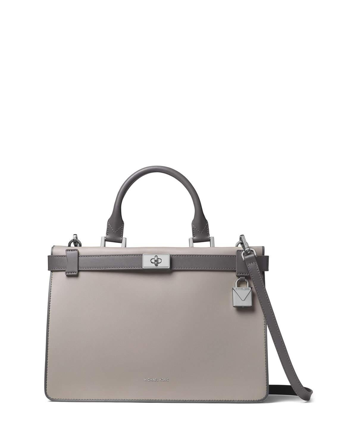 d409b48d35ad Michael Michael Kors Tatiana Medium Leather Satchel Bag - Silvertone  Hardware In Grey