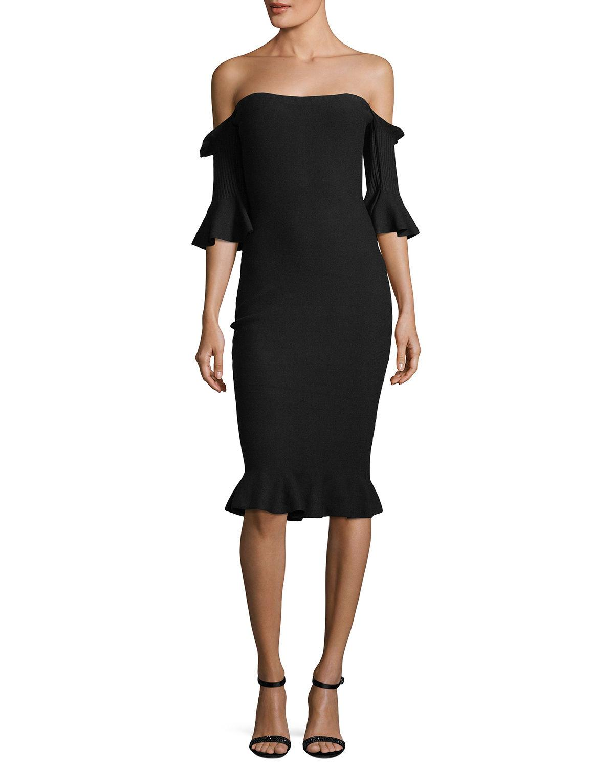 d5075bf01404 Milly Pintuck Off-The-Shoulder Sheath Dress In Black   ModeSens