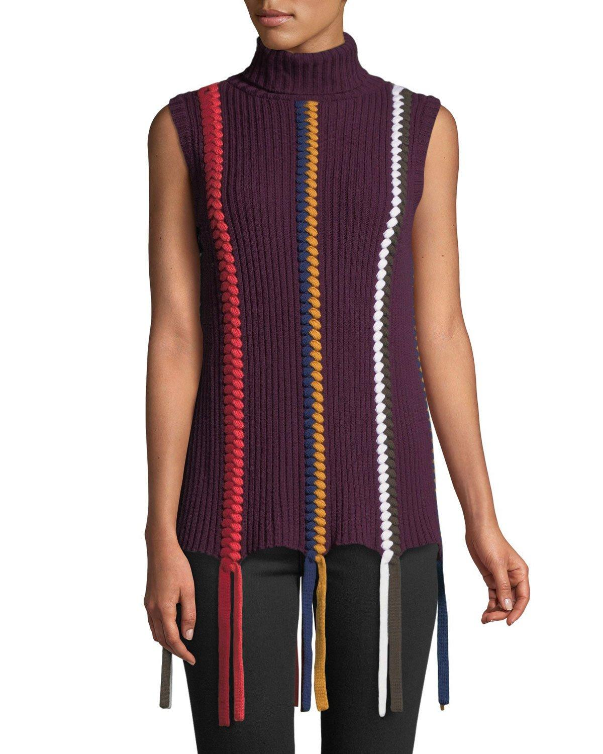 ef893885a4d9bc Derek Lam 10 Crosby Sleeveless Turtleneck Sweater With Braided Details In  Multicolour