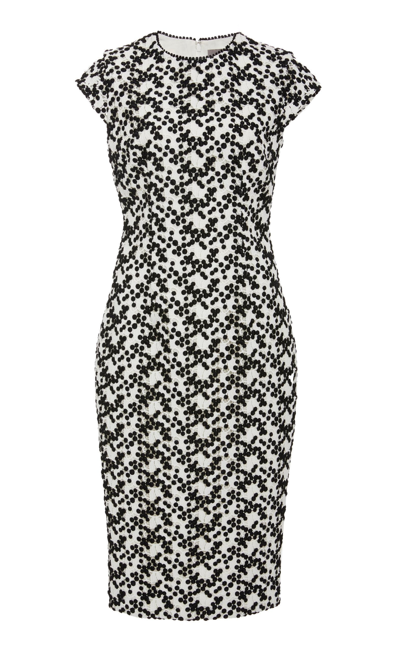 8ebd75fd Lela Rose Cap-Sleeve Dotted Floral-Lace Fitted Sheath Dress In Black/White