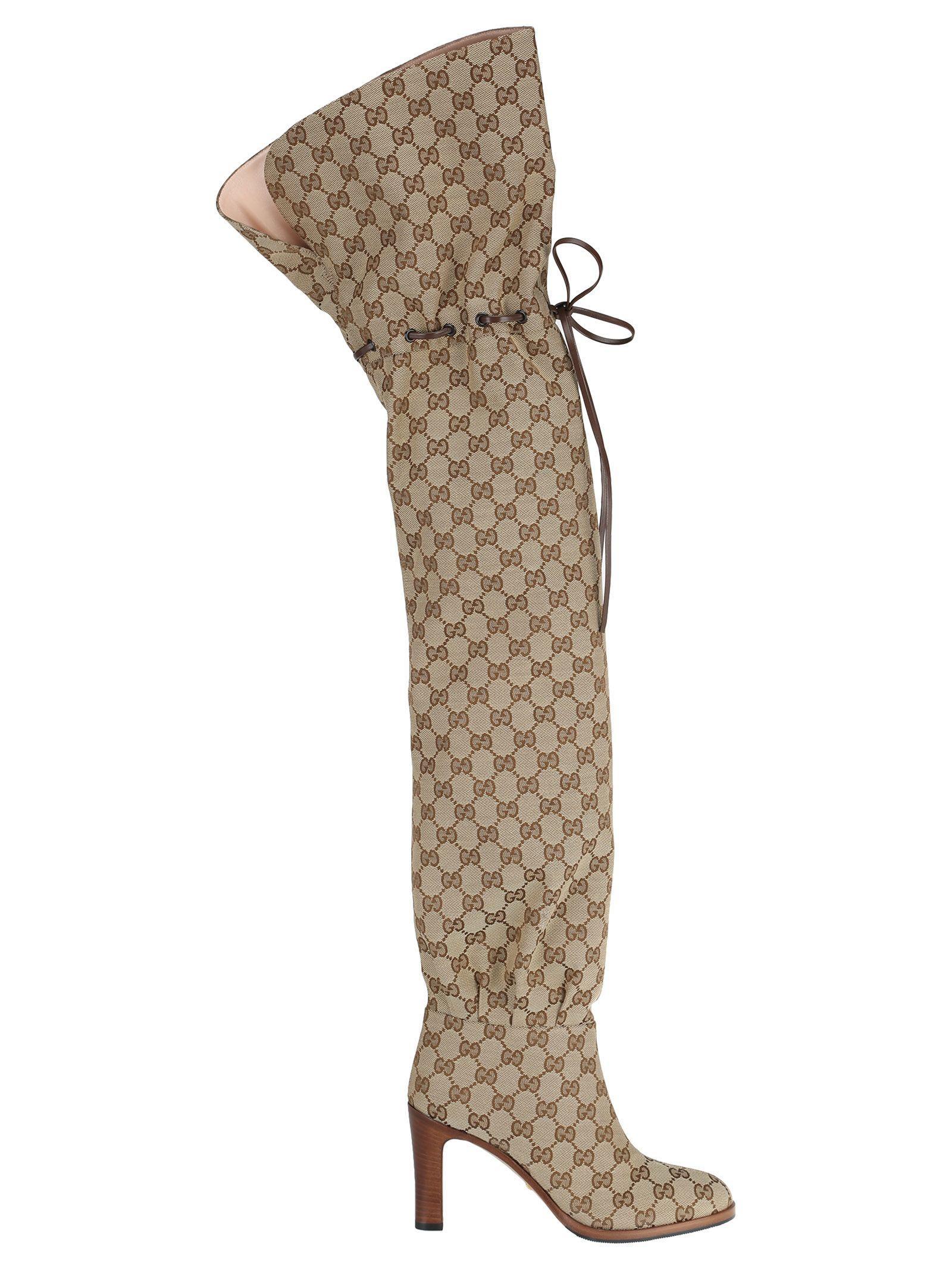 4a66d713d Gucci Original Gg Canvas Over-The-Knee Boots In Neutrals | ModeSens