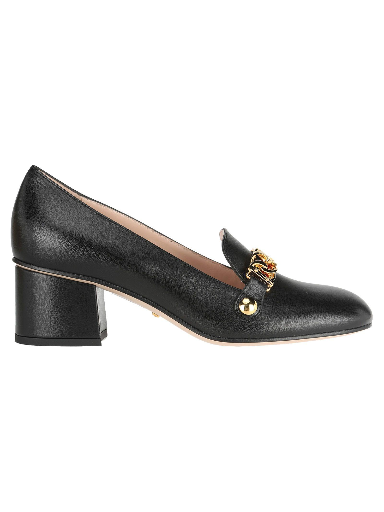 0c2275636 Gucci Sylvie Web-Stripe And Chain Block-Heel Loafers In Black   ModeSens