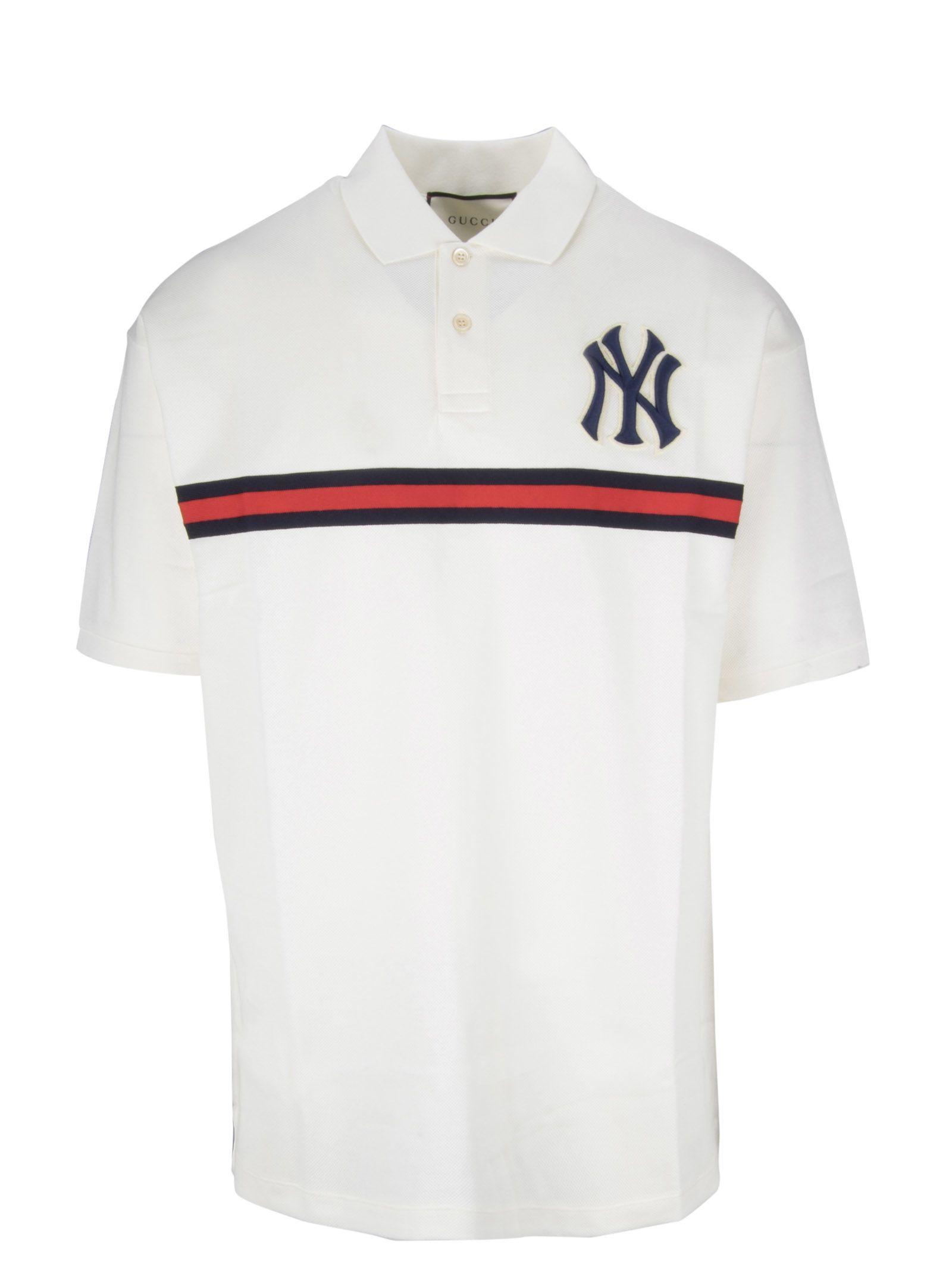 deb0b6da7 Gucci Men's Ny Yankees Mlb Polo Shirt With Logo Applique In White ...