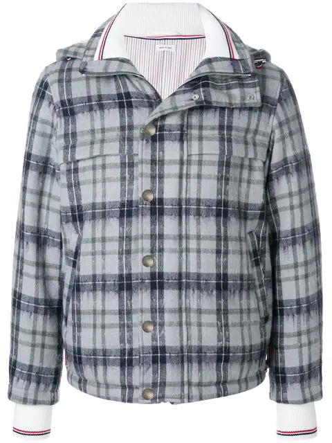 Thom Browne Tartan Down-filled Hairy Mohair Tech Jacket - Grey