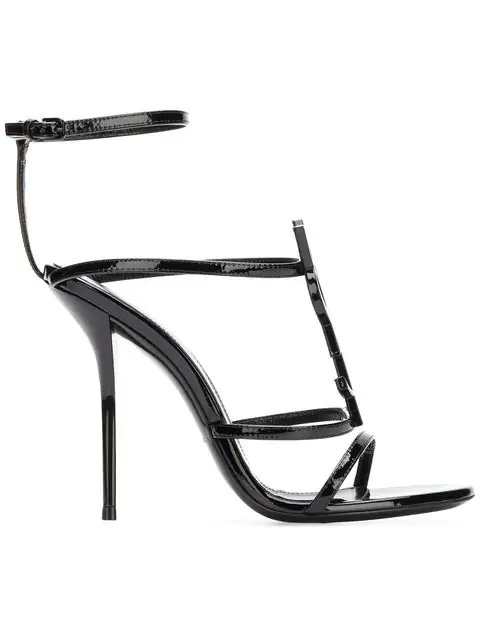 Saint Laurent Cassandra Logo-Embellished Patent-Leather Sandals In Black