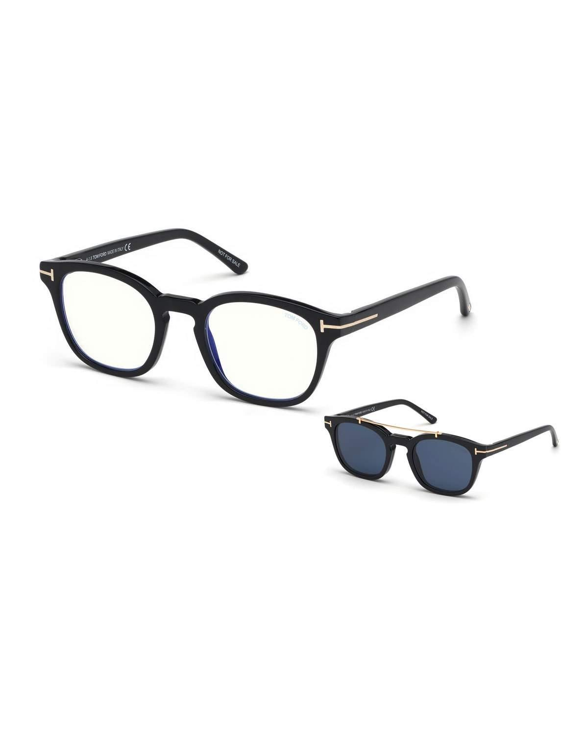 2df17be311a MEN S SQUARE OPTICAL GLASSES W  CLIP ON BLUE BLOCK LENSES. Tom Ford optical  glasses in injected plastic and metal.