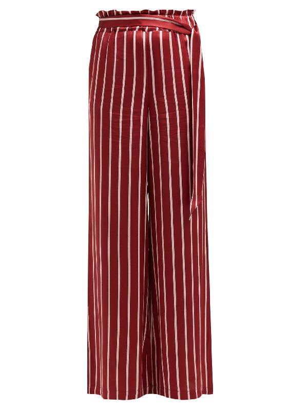 Asceno Striped Silk Pyjama-Style Trousers In Burgundy Stripe
