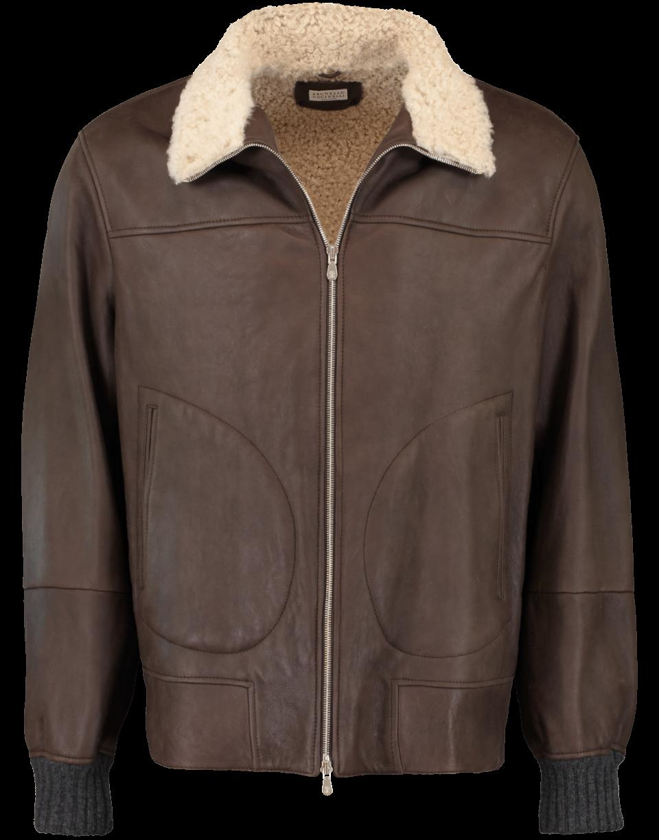 Brunello Cucinelli Dark Brown Leather Jacket In Dk-brwn