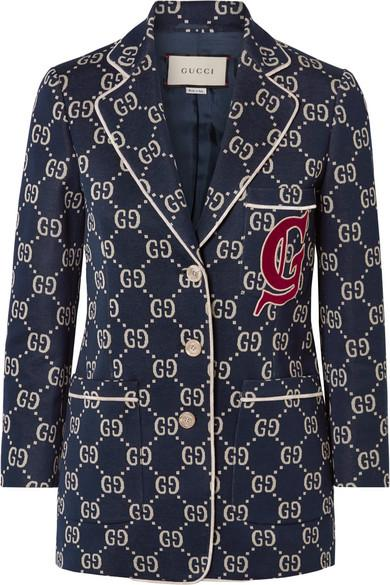 e0b753355 Gucci Gg Jersey Single-Breasted Jacket W/ Preppy Patch In Blue ...