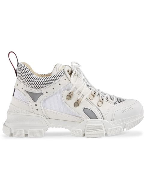 Gucci Journey Trek Leather And Canvas Trainers In White