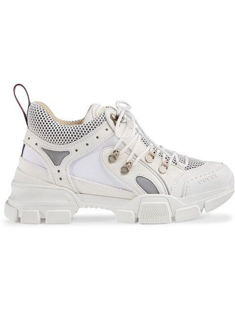 Gucci Low-top Sneakers Flashtrek  Calfskin Logo White-combo