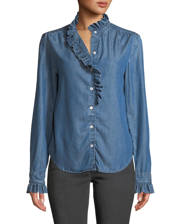 c118ce1d9e Frame Ruffle Button-Front Denim Shirt