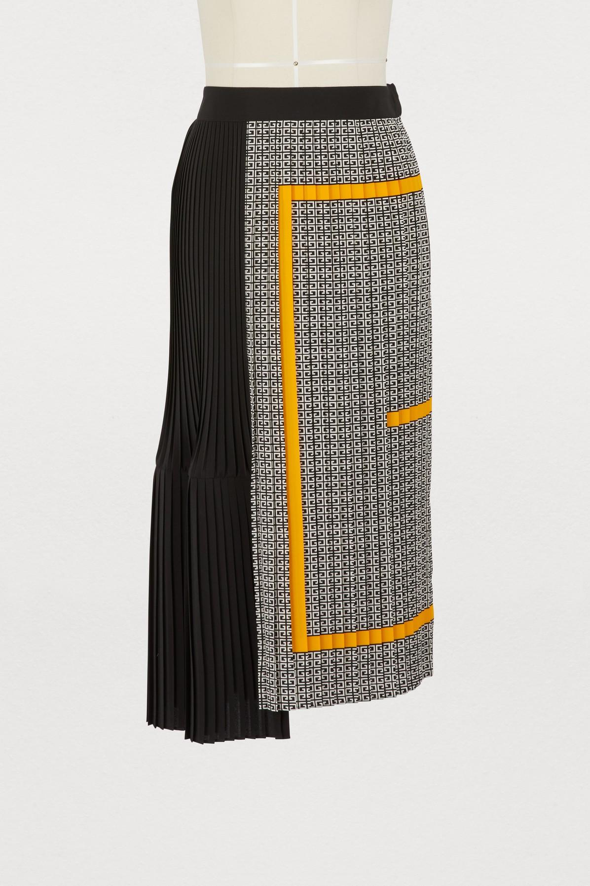 Givenchy Pleated Printed Silk Crepe De Chine Midi Skirt In Black Yellow