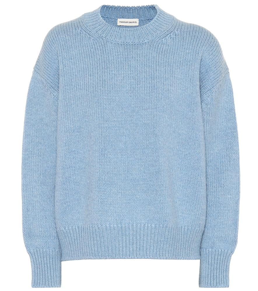 0e0b3792b Mansur Gavriel Sky Blue Merino Wool Oversized Crewneck Sweater ...