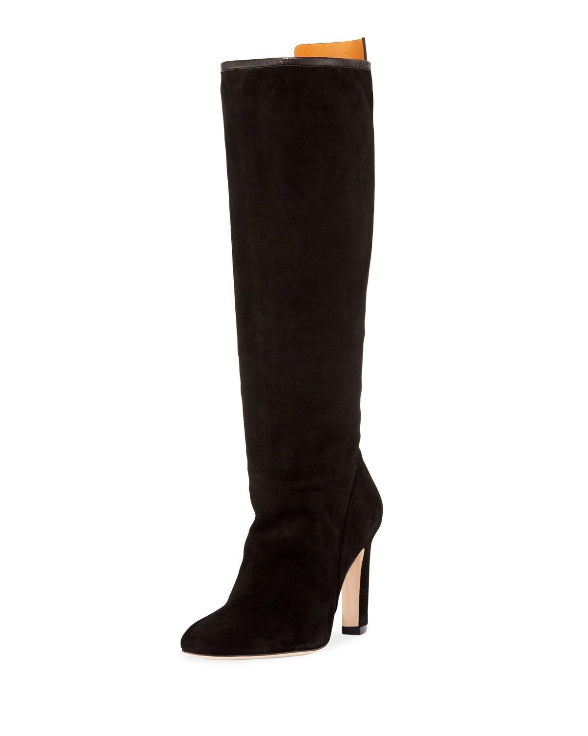 f2dc5d89968 Stuart Weitzman Women s Charlie Pointed-Toe Knee-High Suede High-Heel Boots  In