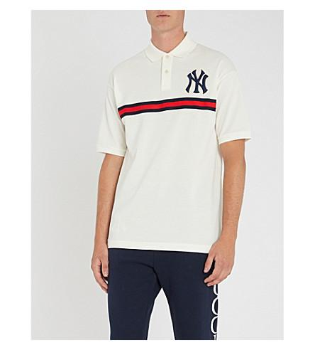 d5d818828 Gucci Men's Ny Yankees Mlb Polo Shirt With Logo Applique In White ...