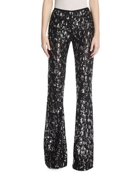 Michael Kors Sequined Leopard Tulle Flare-leg Pants In Black/silver