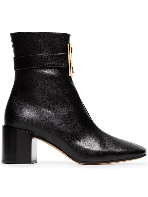 Givenchy 4G Logo Leather Block-Heel Ankle Boots In 001 Black
