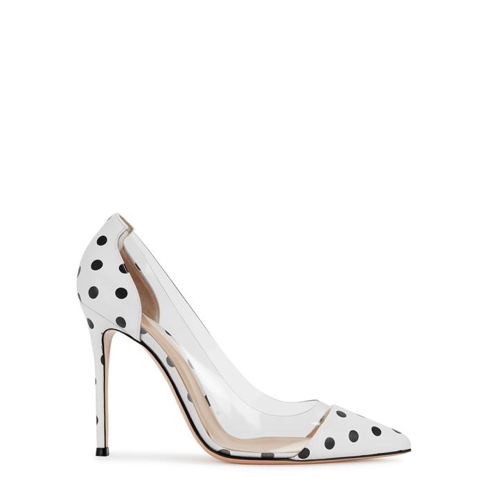 70eecc26120 Shop Gianvito Rossi Plexi 105 Polka-Dot Leather Pumps In White And Black