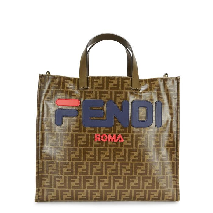 14dca73851 Fendi Shopping Small Coated Canvas Tote Bag - Tabacco In Brown Multi ...