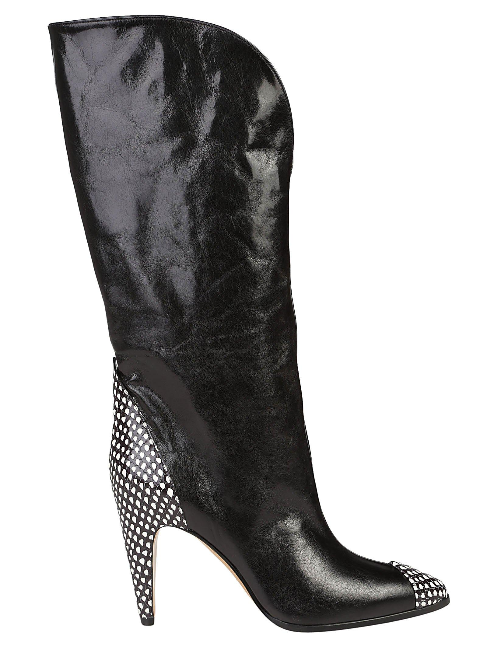 399bc92ef29ba Givenchy Snake-Effect Leather-Trimmed Suede Knee Boots In Black ...