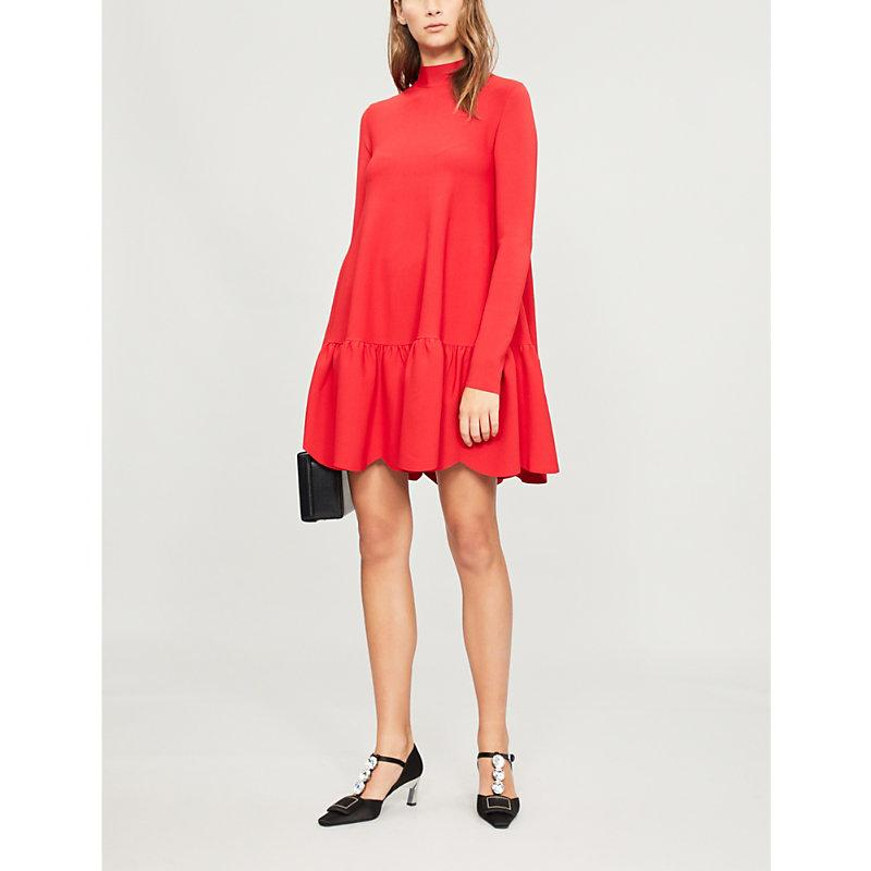 Valentino Red Scallop Hem Stretch Jersey Mini Dress