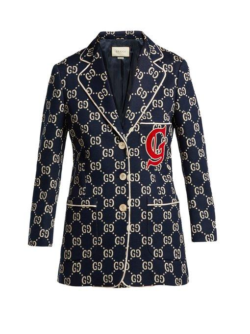 2c0e62d02 Gucci Gg Jersey Single-Breasted Jacket W/ Preppy Patch In 4848 Blue ...