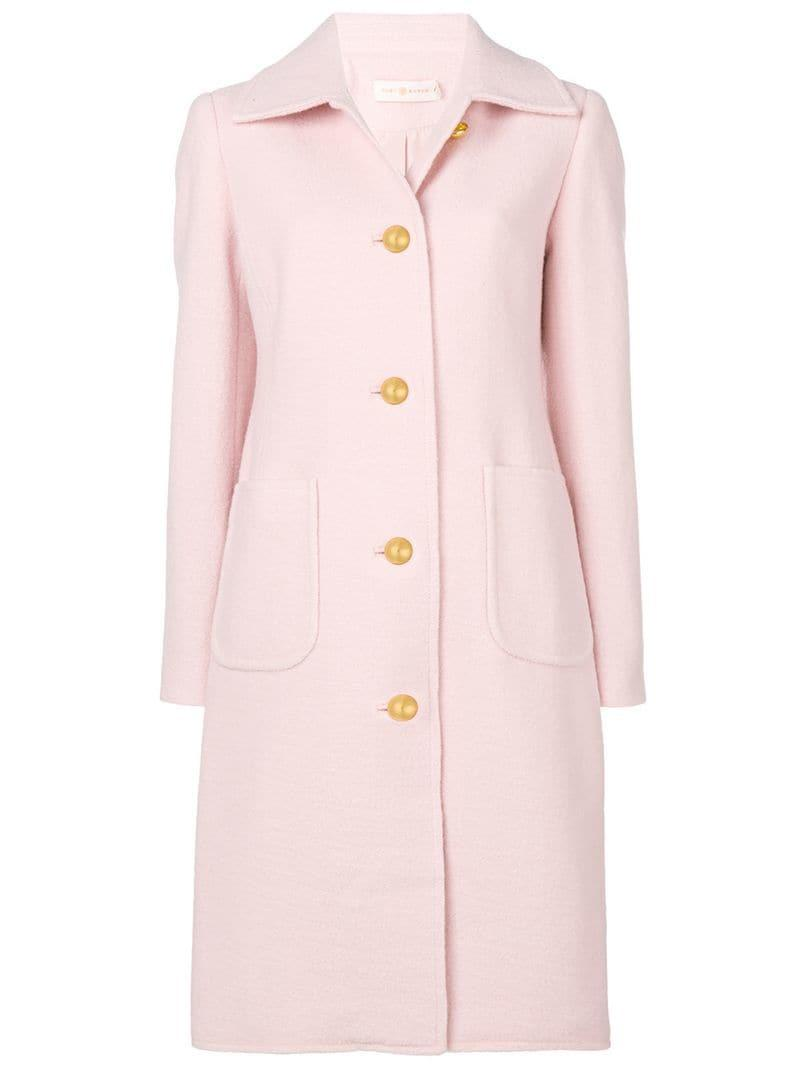 74627f71b7e3b Tory Burch Colette Single-Breasted Long Wool Coat In Pink