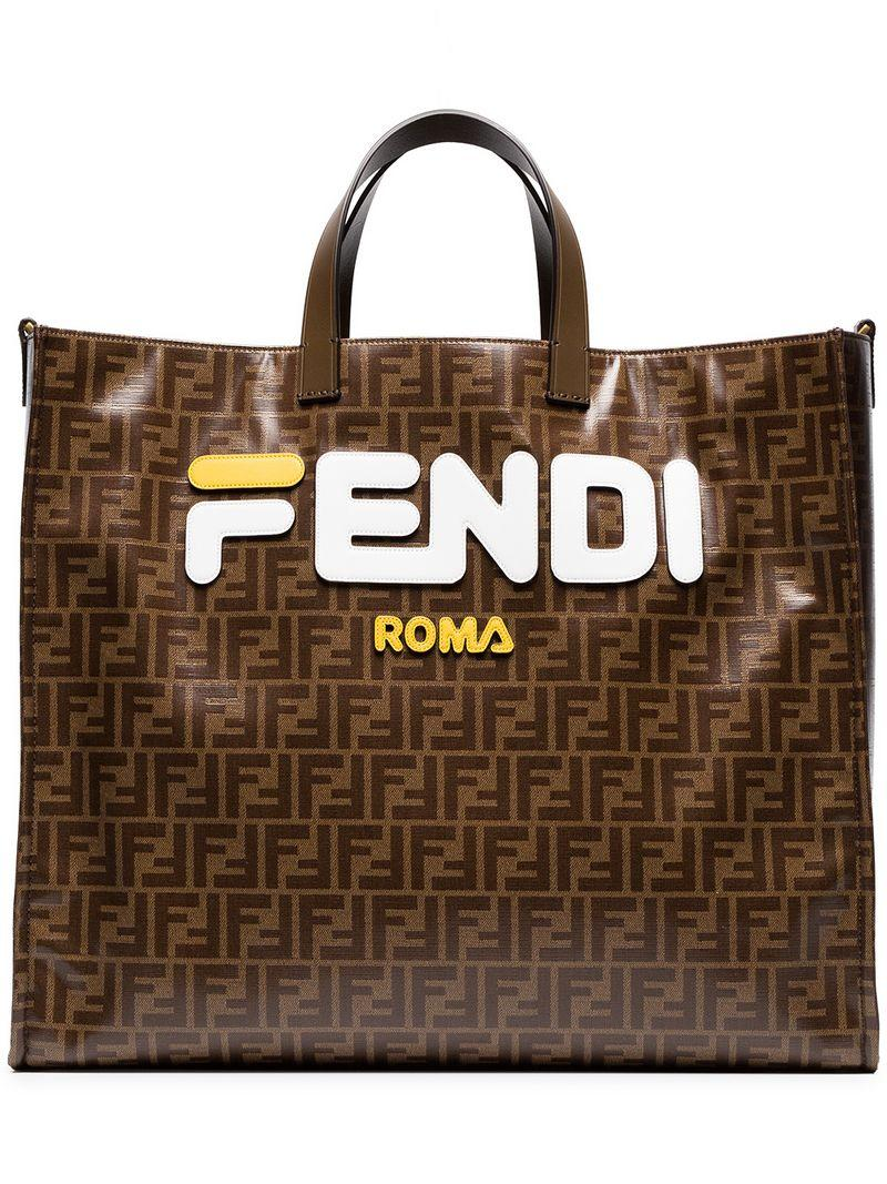 Fendi Runway Collection Large Calf And Canvas Tote Bag In Brown ... 8a955d2ce7e47
