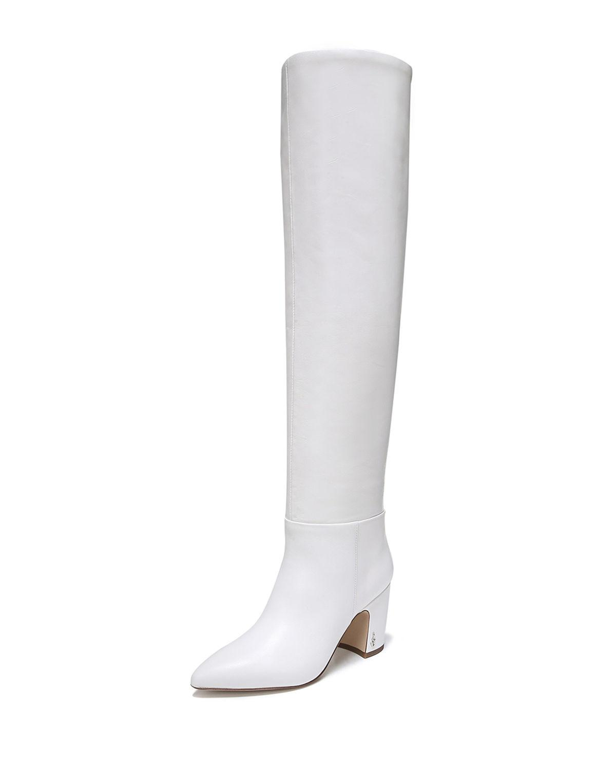 cce773870f64 Sam Edelman Women s Hutton Leather Over-The-Knee Boots In Bright White  Leather