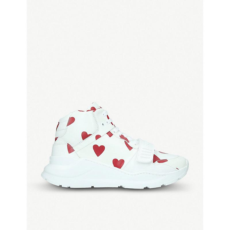 Burberry Regis Heart-print Leather Trainers In White