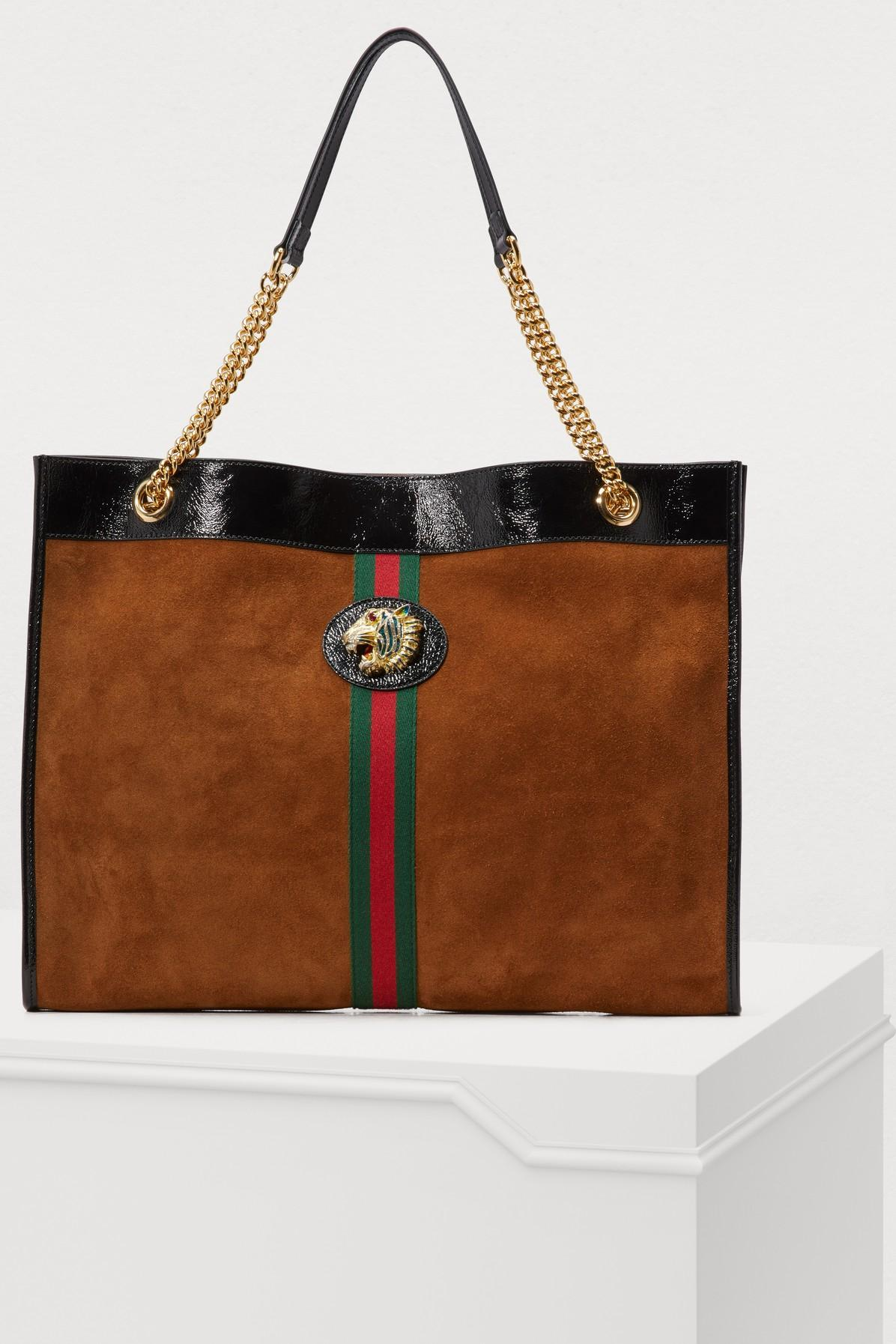 6338f7497a21 Gucci Large Suede Rajah Tote Bag In Multi   ModeSens