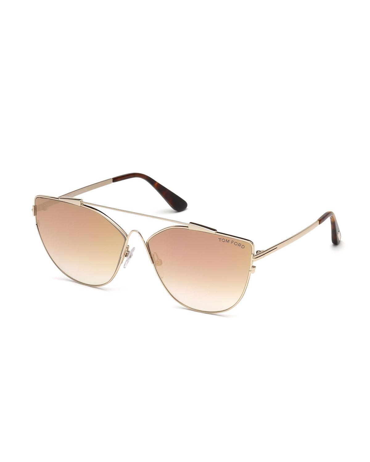 bf53caf7f9ed Tom Ford Jacquelyn 64Mm Cat Eye Sunglasses - Gold/ Light Brown Mirror In  Nocolor
