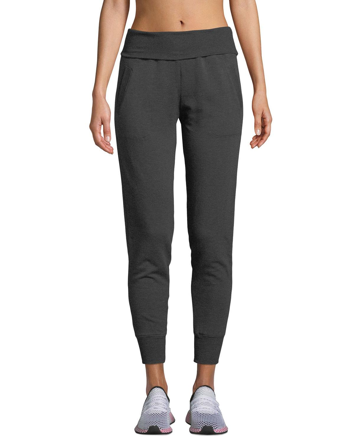 0e8ee14a4a Beyond Yoga Cozy Fleece Fold-Over Jogger Sweatpants In Charcoal Heather Grey