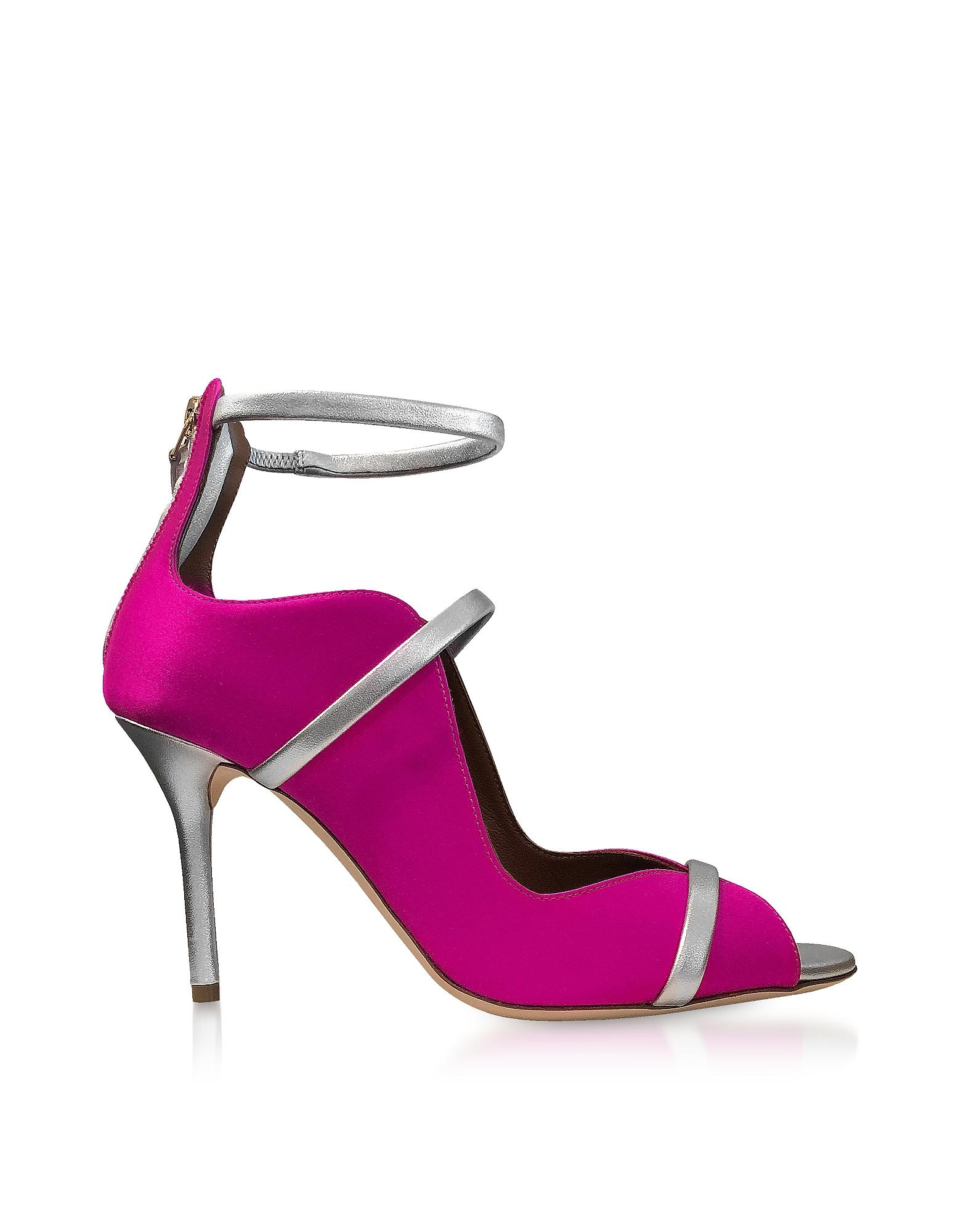 6ad09b56b351 Malone Souliers Mika 85 Fuchsia Satin And Metallic Leather High Heel Sandals  In Pink