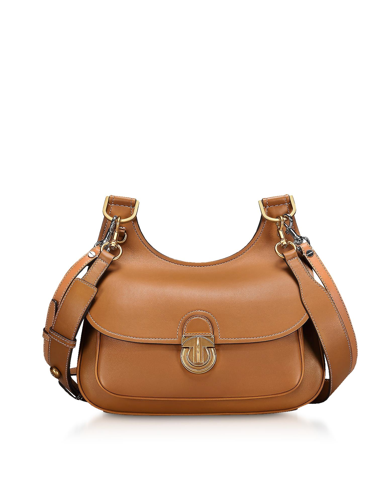 4037f459610 Tory Burch James Smooth Leather Saddle Shoulder Bag In Moose
