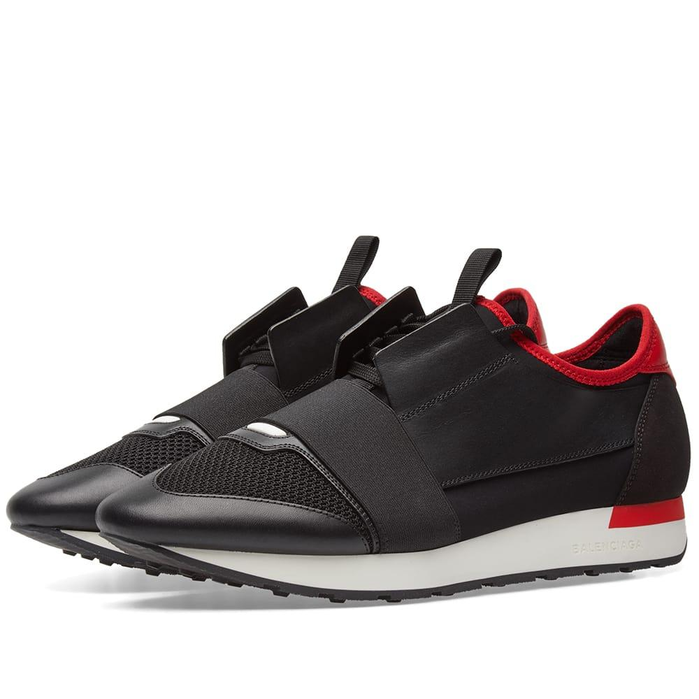 accfed6dc0e2c Balenciaga Mens Black And Red Striped Capsule Race Runners Leather And Suede  Sneakers