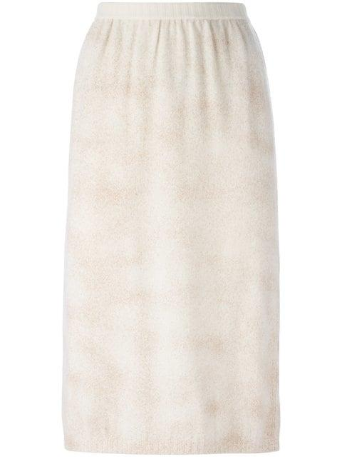 Krizia Vintage Knitted Skirt In Neutrals