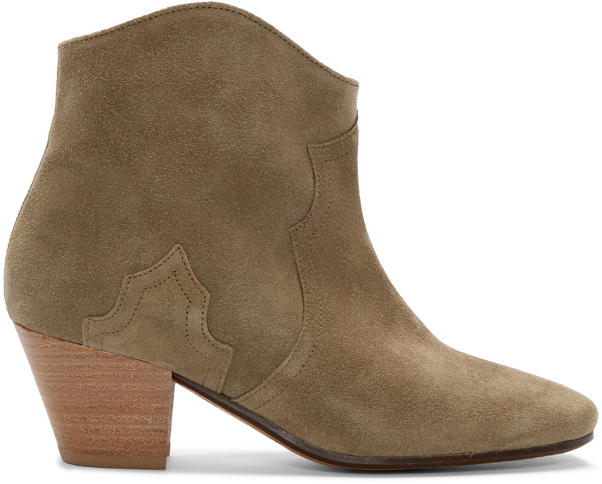 Isabel Marant Etoile 50Mm Dicker Suede Ankle Boots, Taupe In Lrowe
