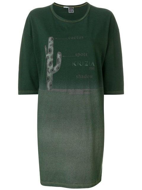 Krizia Vintage Printed T-shirt Dress In Green