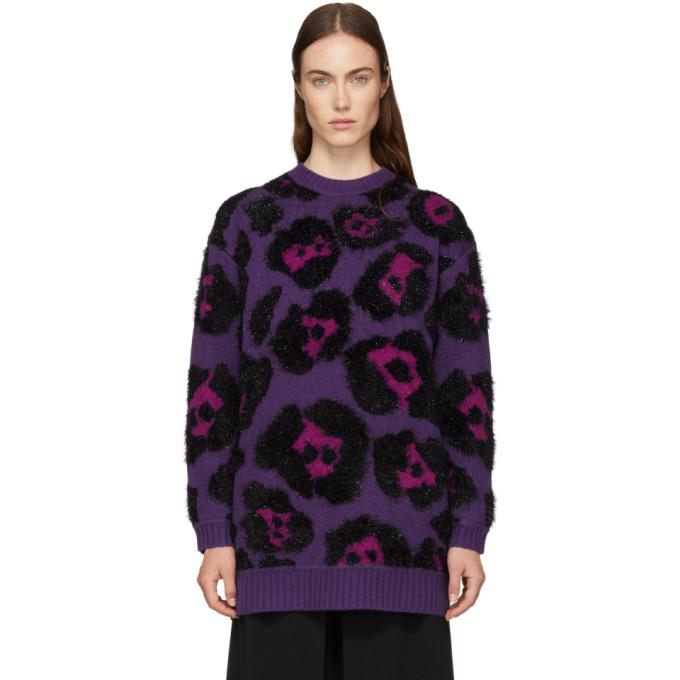 26252c00c900 Marc Jacobs Leopard-Jacquard Metallic Long-Sleeve Crewneck Tunic Sweater In  501 Purple