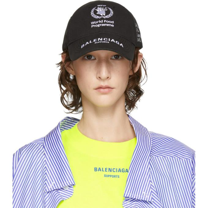 f8d6fdfbd14d3b Balenciaga + World Food Programme Embroidered Cotton-Twill Baseball Cap In 1077  Blk/Wh