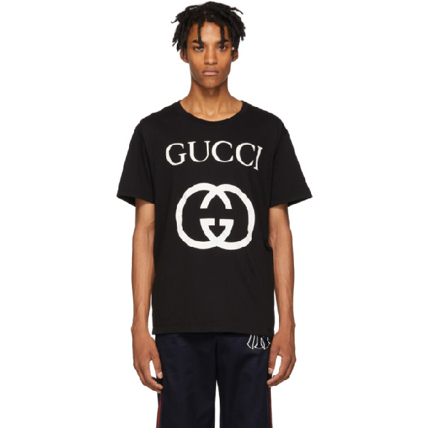 Gucci Oversized Ogo-print Cotton-jersey T-shirt - Black
