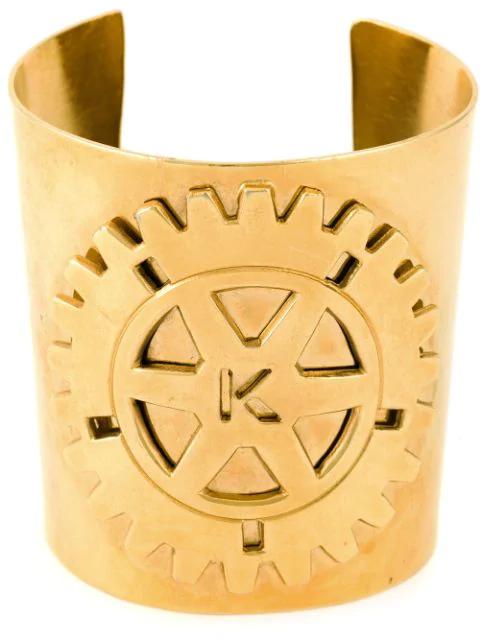 Krizia Vintage Embossed Logo Cuff In Metallic