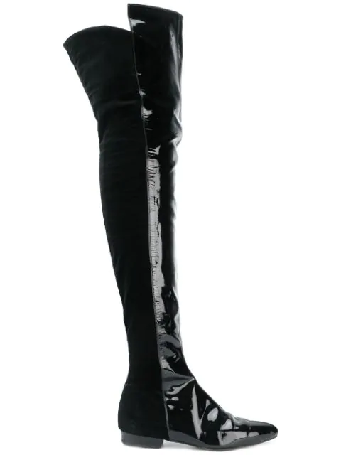 Versace Over The Knee Boots In Black