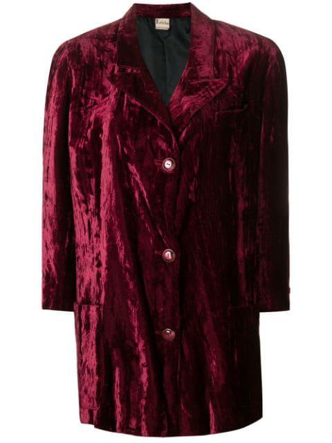 Krizia Vintage 1970's Velvety Coat In Pink