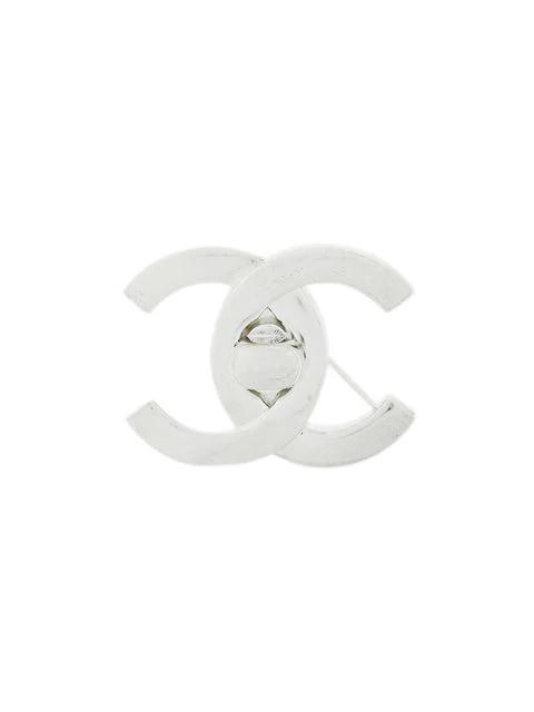 Chanel Logo Brooch In Metallic