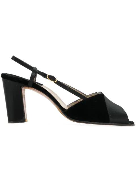Salvatore Ferragamo Peep Toe Sandals In Black