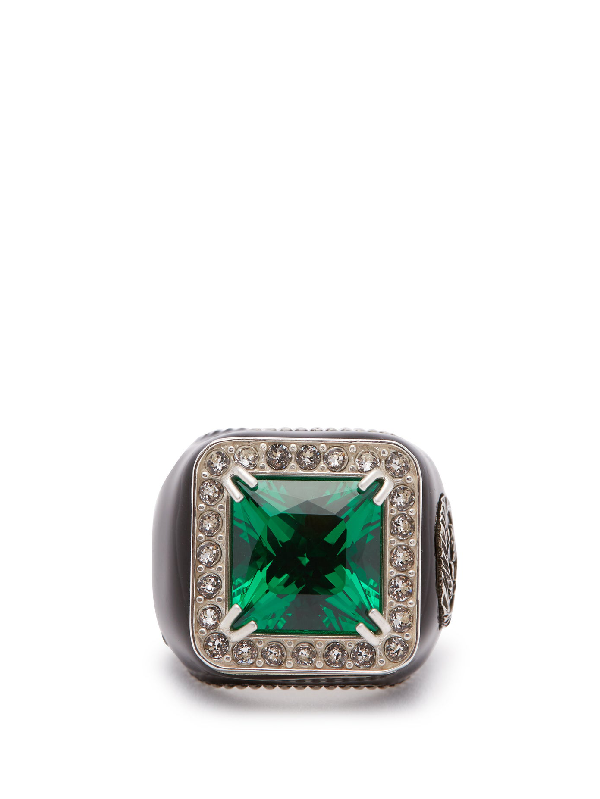 Gucci Crystal-embellished Signet Ring In Green