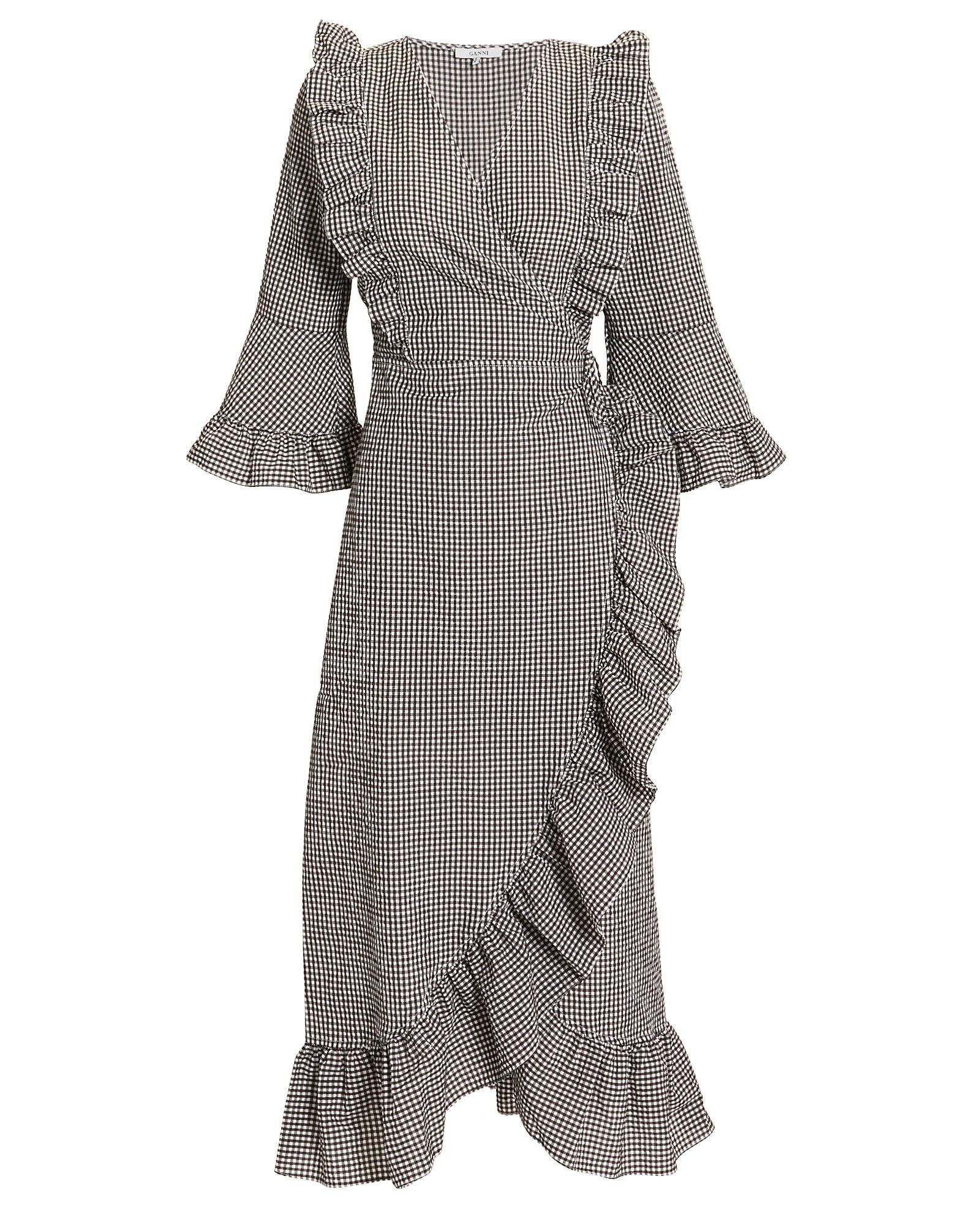 f5c5eab0 Ganni Charron Gingham Cotton-Blend Wrap Dress In Brown | ModeSens